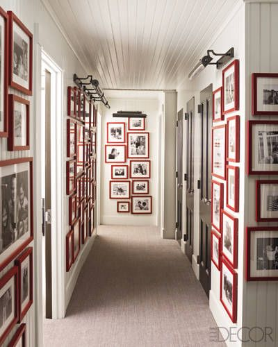 My hallway at my own home is starting to look like this.  I might look at the pictures Then walk away crying because they are growing up too fast. Via  Elle Decor