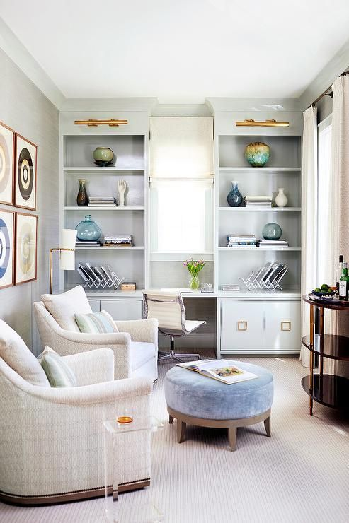 That paint color is so soothing.  This is a small room that packs a lot of punch.  via  Kara Cox interiors