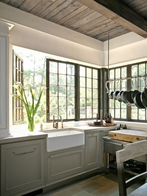 Just look at that pot rack and butcher block!! via  Houzz