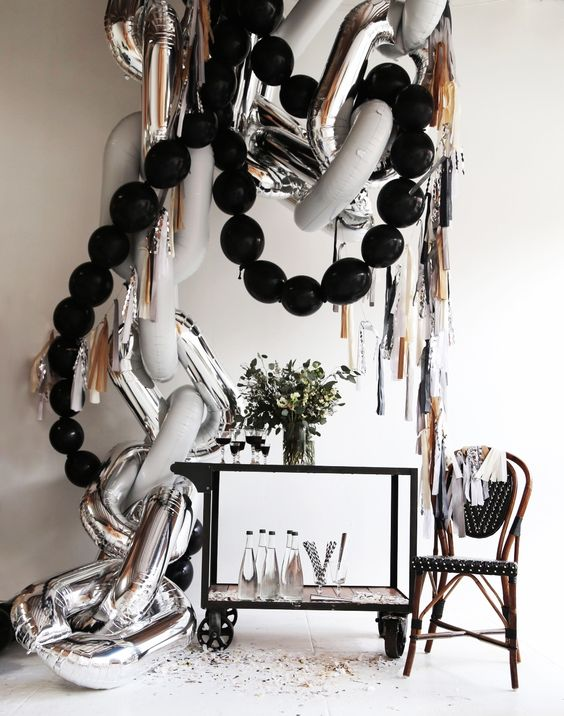 "A great example of mixing ""finishes"" if you will, with the matte and shiny balloons."