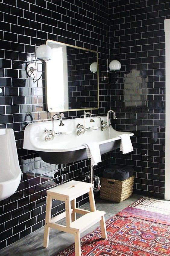 Oh, my favorite color, black.  It too is really coming back in the form of black tiles for bathrooms.  For now, I'd stick to white toilets though.  via  Pop Sugar