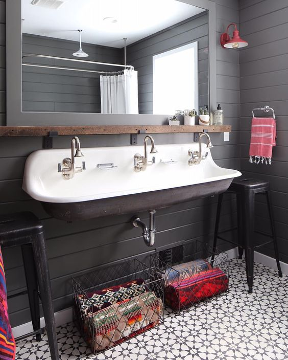 OH THAT'S MORE LIKE IT.  AN ADULT LOOKING SPACE.  I GOT A LITTLE TOO INTO THOSE KID SINKS IF YOU GET WHAT I MEAN.  VIA  CEMENT TILE SHOP .