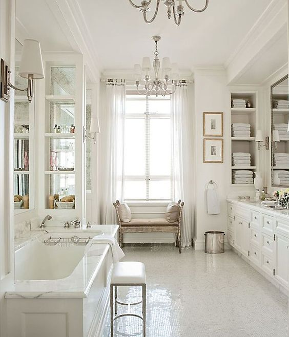 This bathroom feels very collected and homey.  Via  One Kings Lane