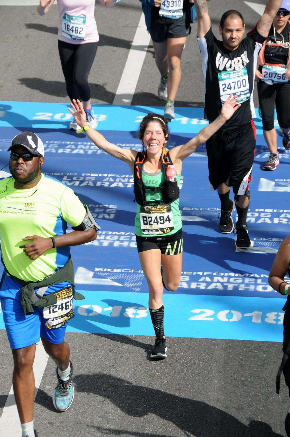 Lauren Morrison crossing the finish line at the 2018 LA marathon!