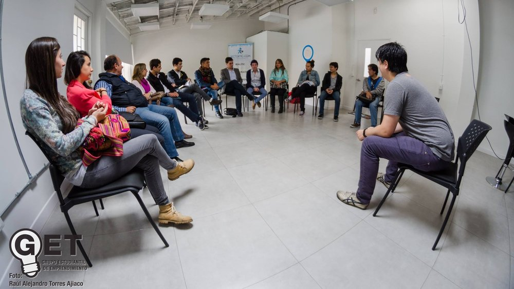 Santiago Jaramillo, COO of Torre, at a Q&A session at the Bogota Institute of Technology