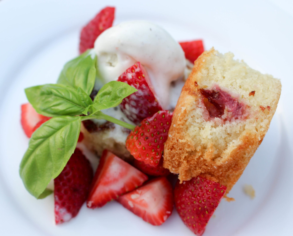 Roasted Strawberry Sponge Cake