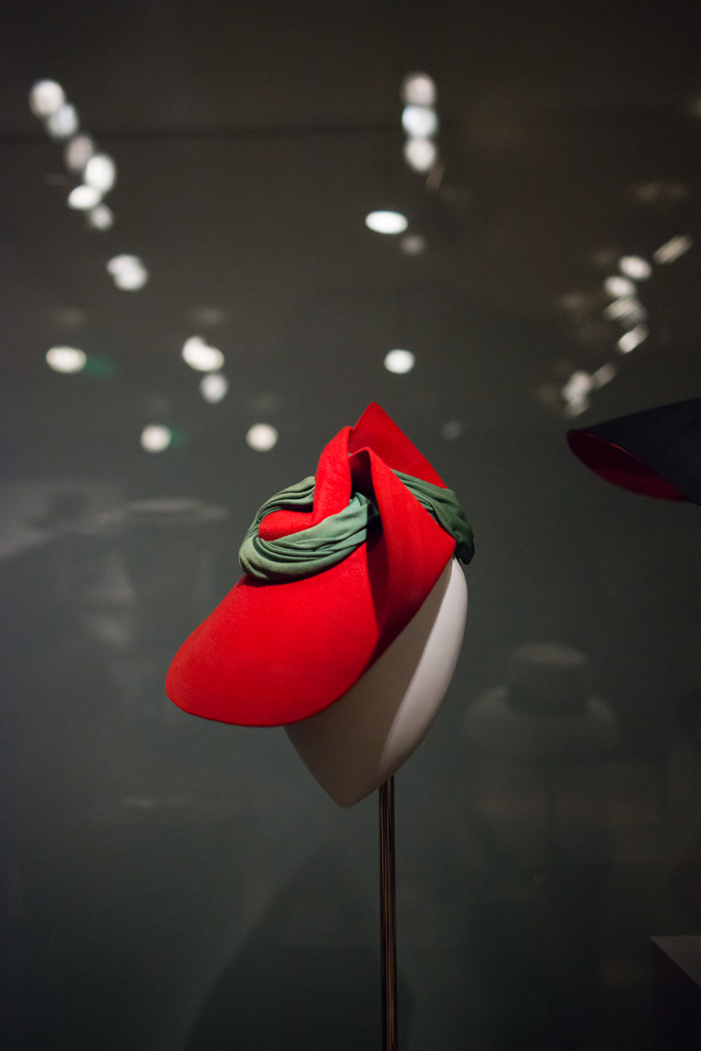 1936 Sally Victor, red fur felt hat with green rayon jersey band.