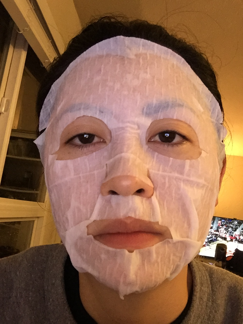 SEPHORA face mask. Not the best fitting mask, as you can tell. Either that, or my nose is unusually large.