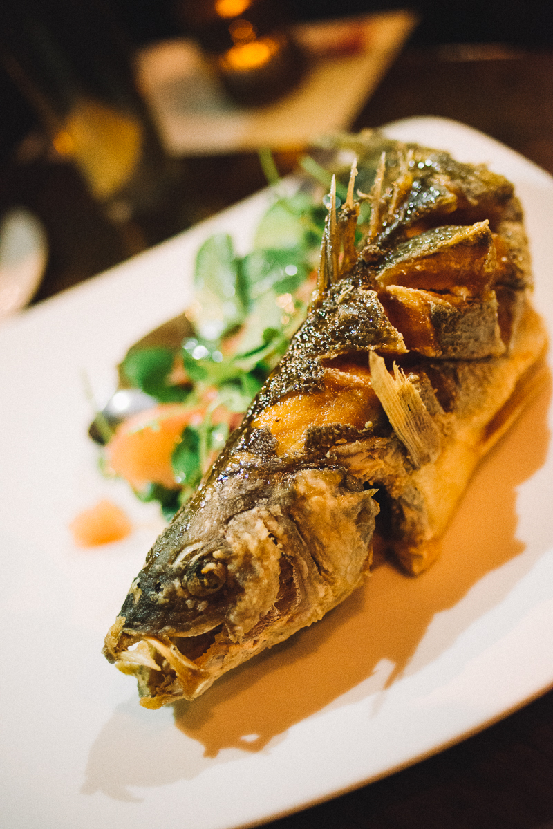 WHOLE CRISPY FISH | citrus glaze, ginger, scallions, and chilis