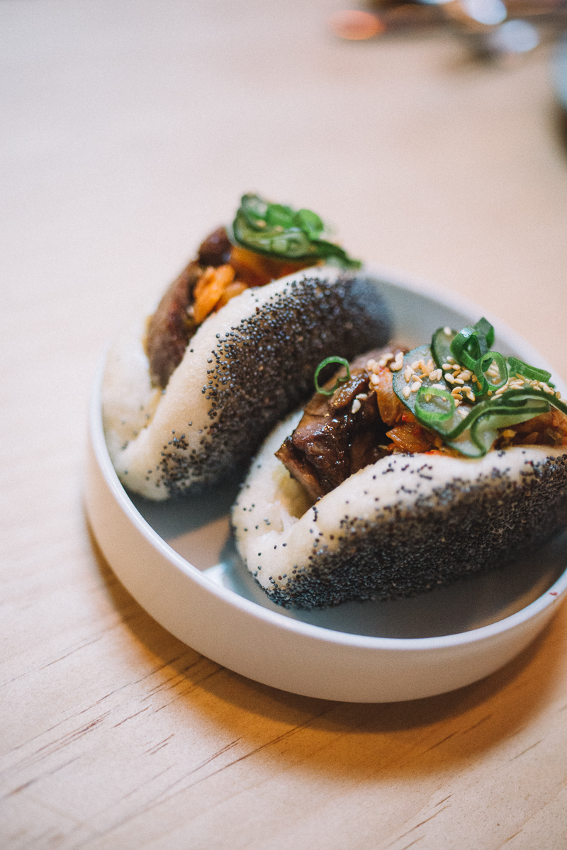 beef tongue, kimchi, cucumber, poppy seed steam bun