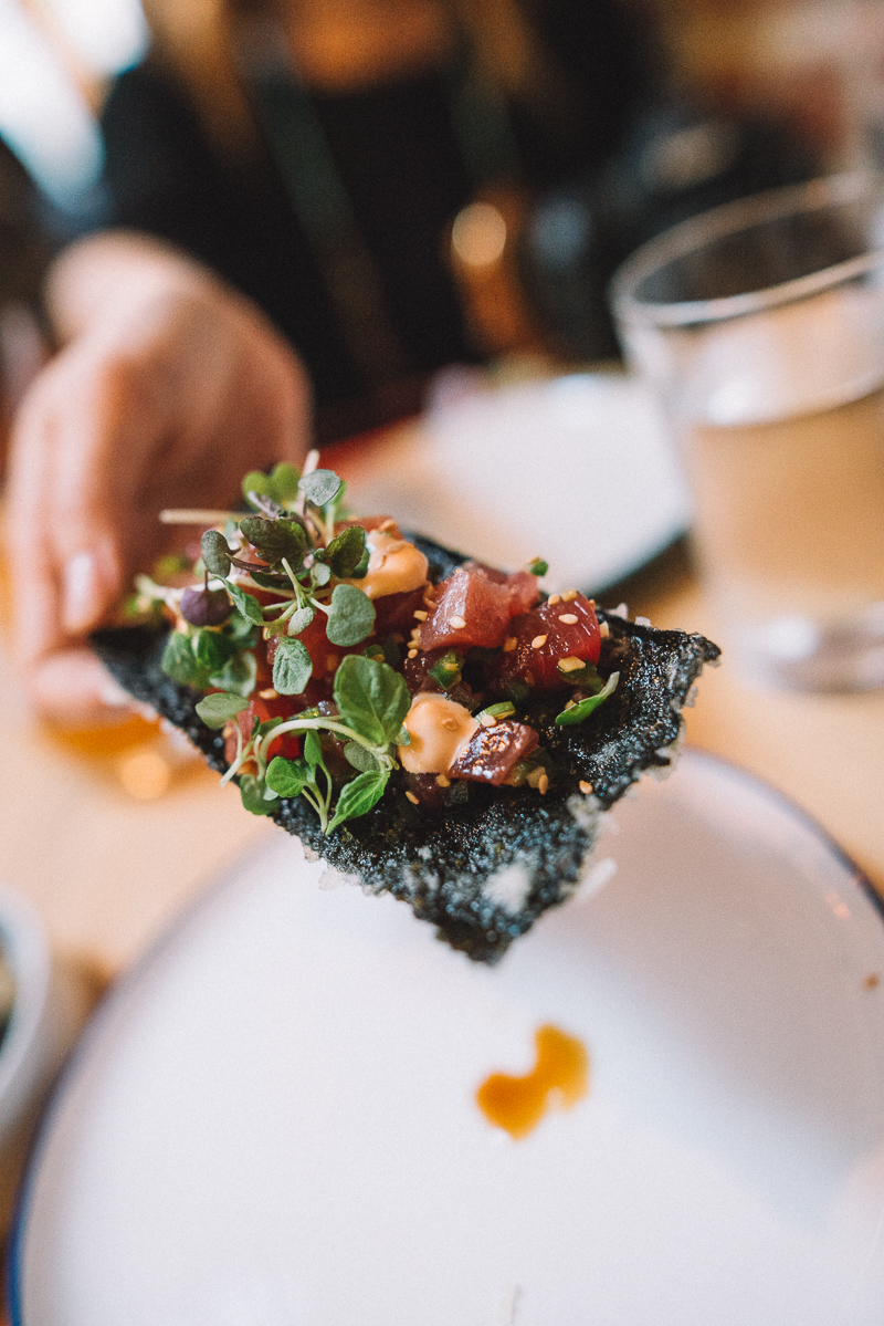 tuna poke, sesame oil, radish, nori cracker