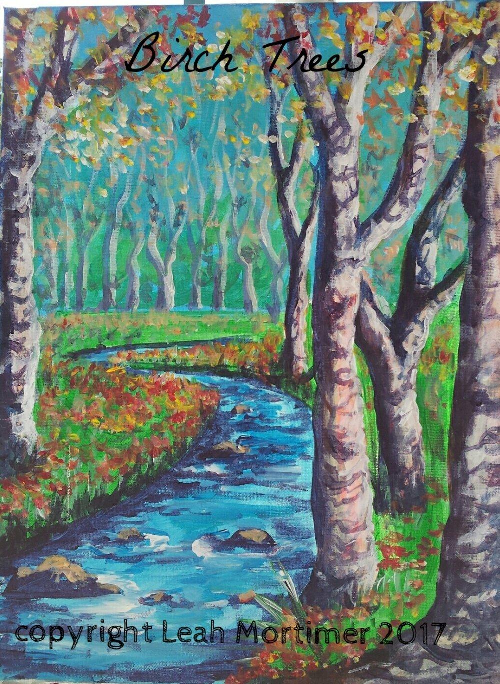 Birch Trees by Stream
