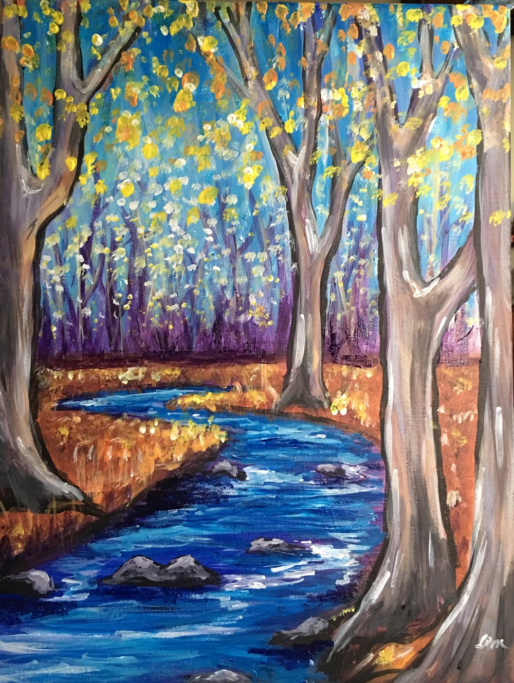 Autumn Trees by a River.JPG