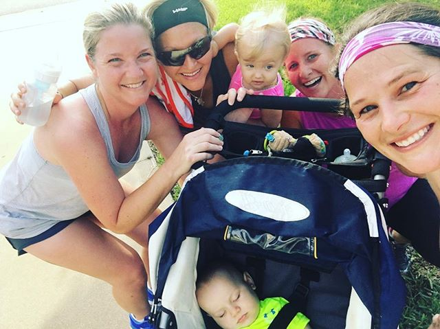 Five miles is best done with friends and babies. #halfmarathontraining