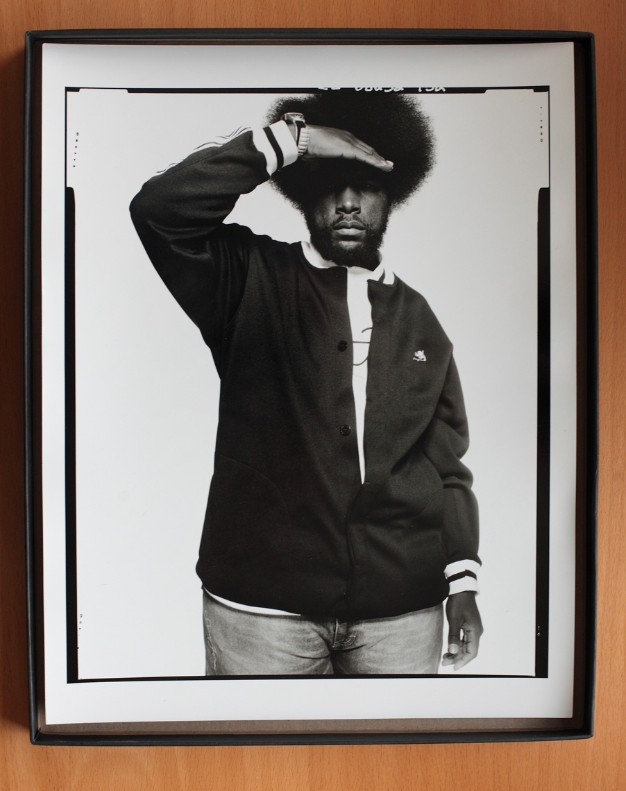 "Questlove  of The Roots  11""x14"" black and white silver-halide print   limited edition of 4    $350"