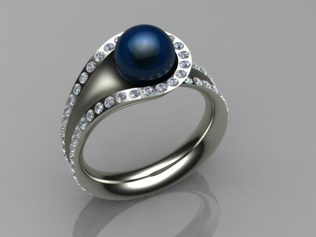 Infinity Ring with Tahitian Pearl