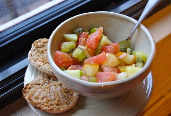 fruit salad + english muffin