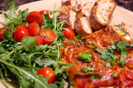dinner-lasagna-salad-bread