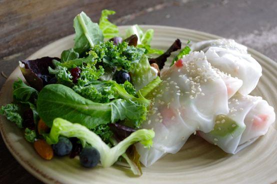 spring rolls + salad