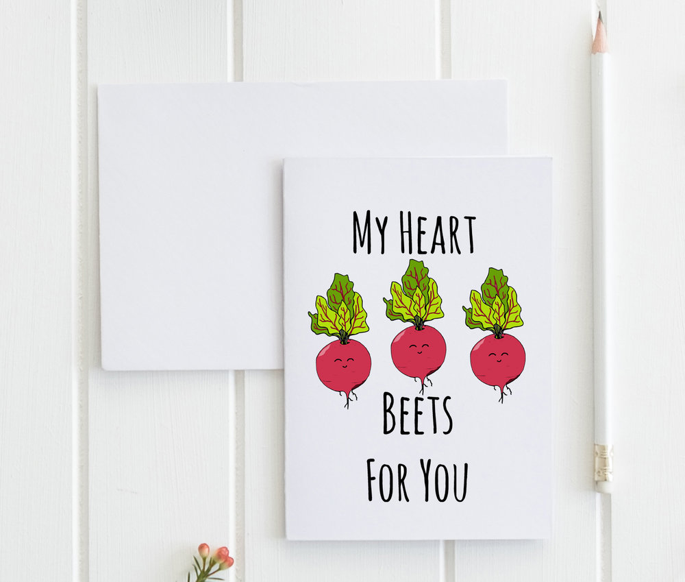 My Heart Beets For You Greeting Card Moonlight Makers