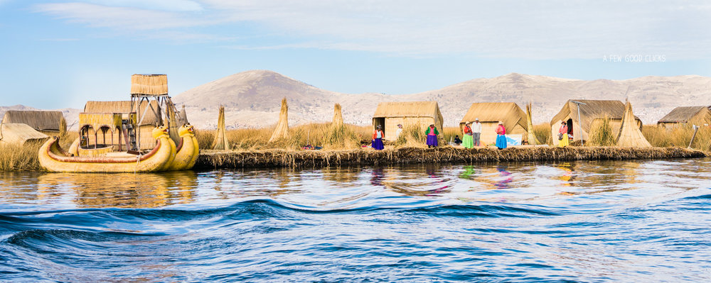 Uros floating island and the natives waiting to welcome tourists