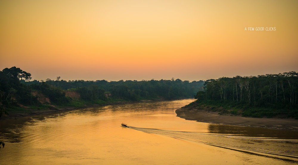 Sunset on Tambopata river, Peruvian Amazon