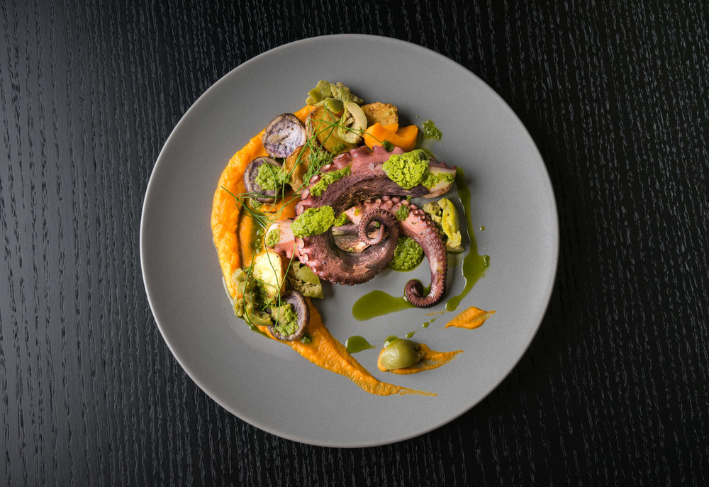 Photograph of Grilled Octopus for Dinner |  Restaurant Menu Photography