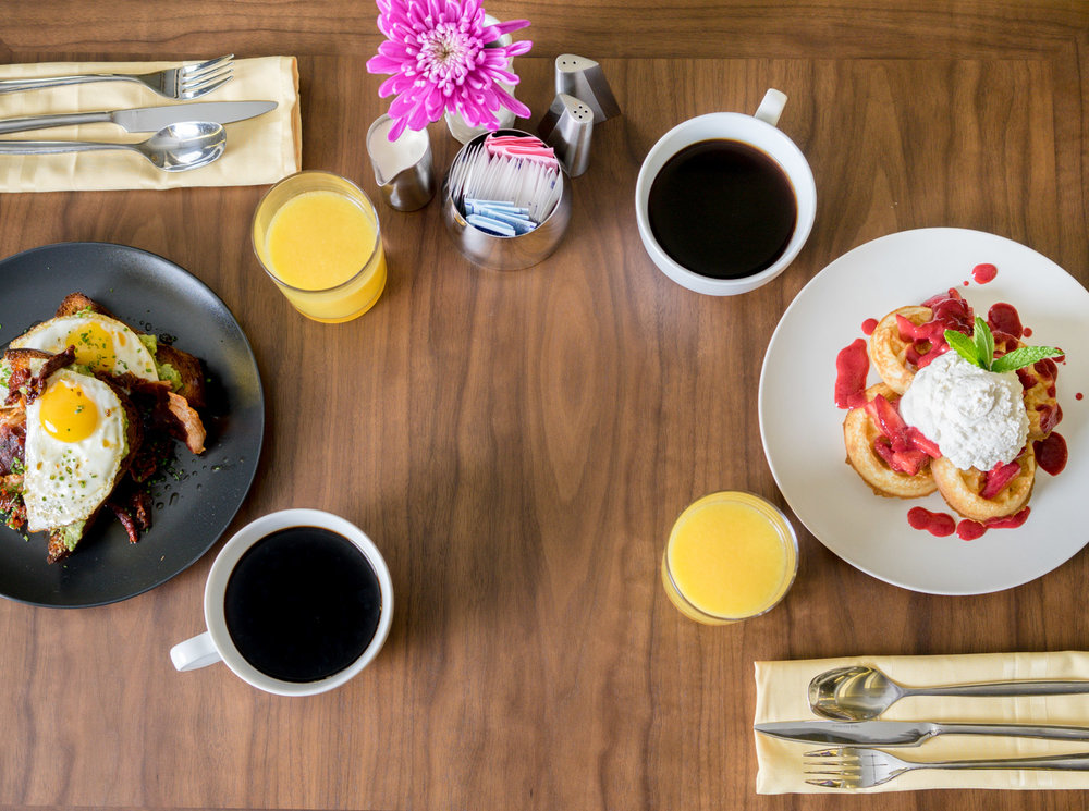 Still images of breakfast table set up at a boutique hotel in San Francisco