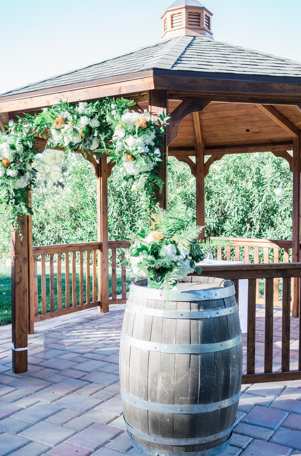 The Wedding Venue Altar with a Wine Barrell.