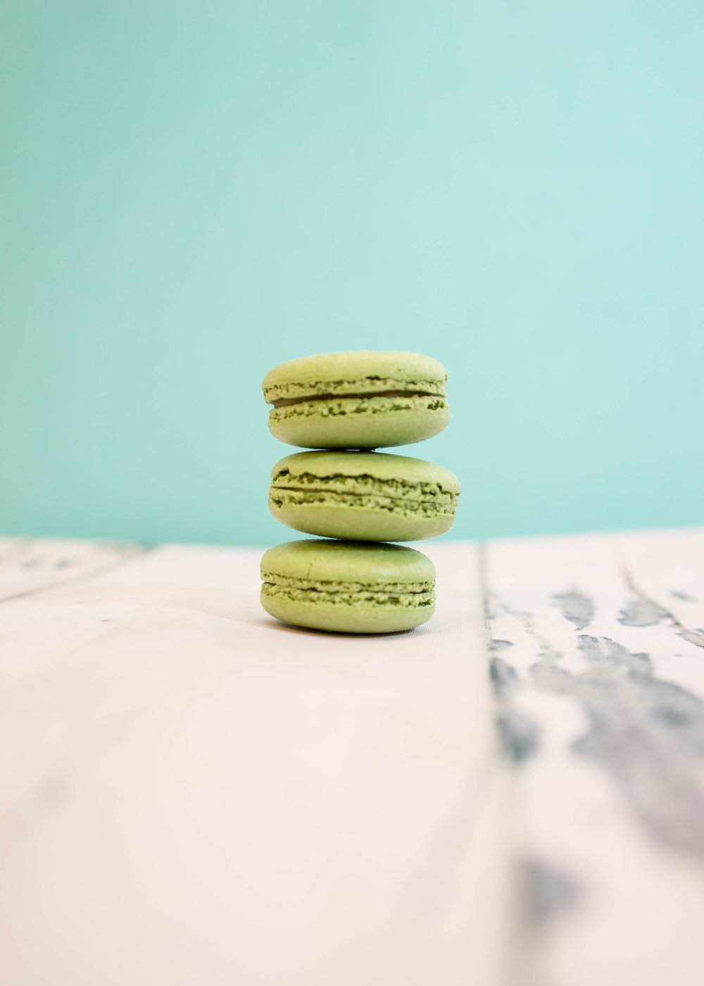 Pistachio macaron photography at Chantal Guillon Palo Alto store.