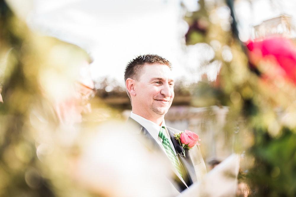 Groom admiring her bride.