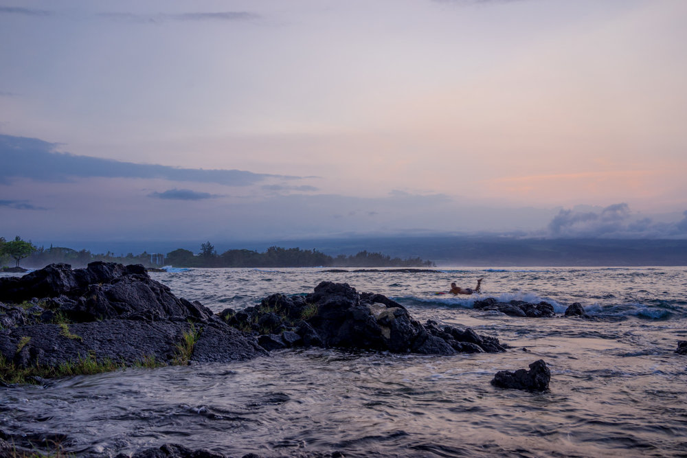 Twilight photography at Richardson Beach Park in Hilo