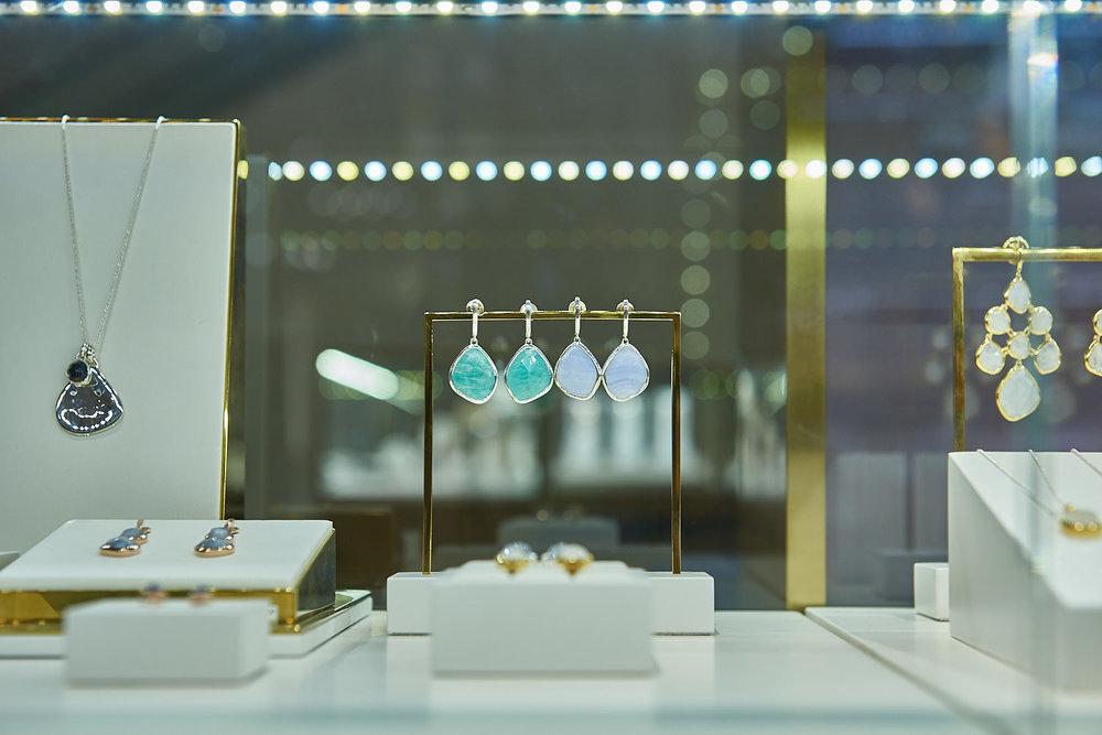 Siren large  nugget earrings  on display.