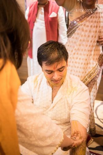 Indian bridegroom enjoying haldi ceremony on his wedding in Agra.