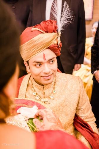 Sehra bandi of Indian bridegroom ceremony .