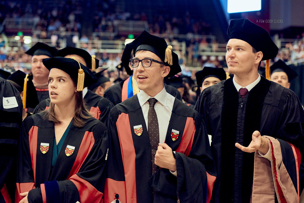 PHD students at the front row | Maples Pavilion
