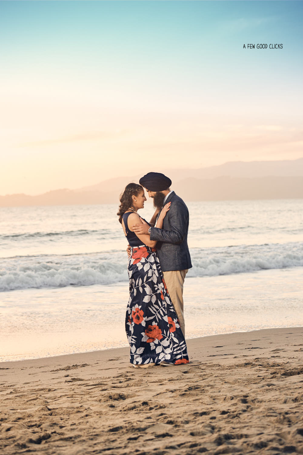 Sunset shoot at Baker's Beach Engagement Photography