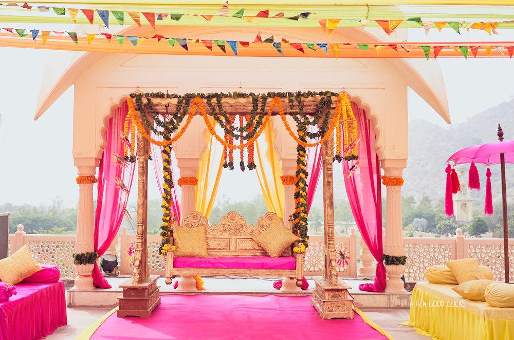 Mehndi ceremony set-up at Rajasthali resort & spa in Jaipur, India.
