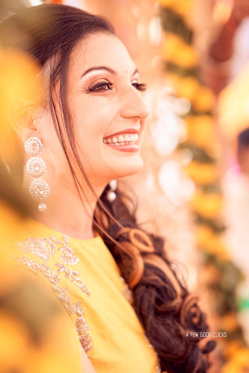 Bride during mehndi ceremony.