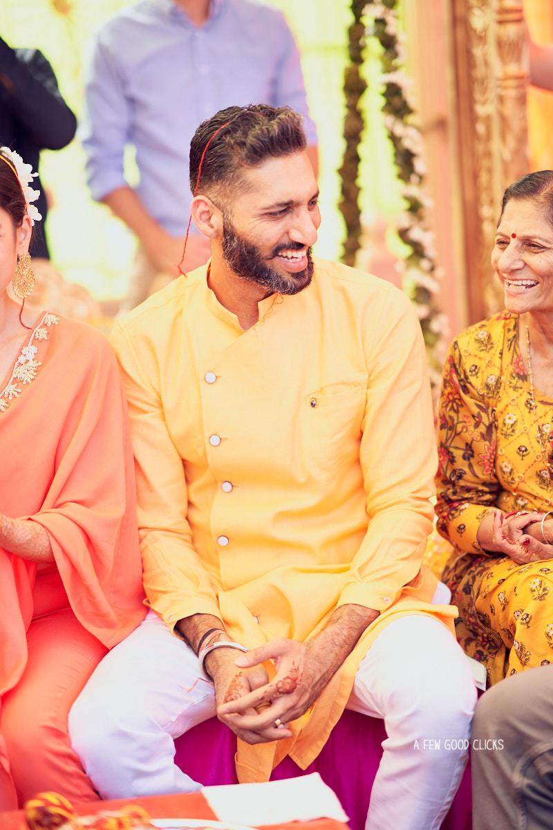 candid-shots-groom-during-haldi-indian-wedding-ceremony