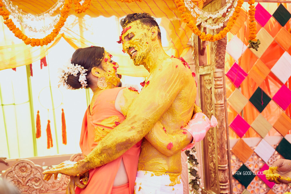 That's the haldi spirit - Roxie & Aakash hugging each other during haldi ceremony.