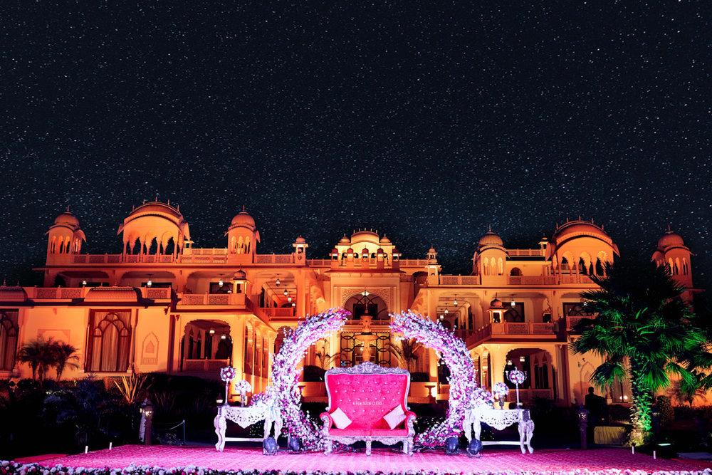 The extravagant wedding stage set-up at Rajasthali resort, Jaipur.