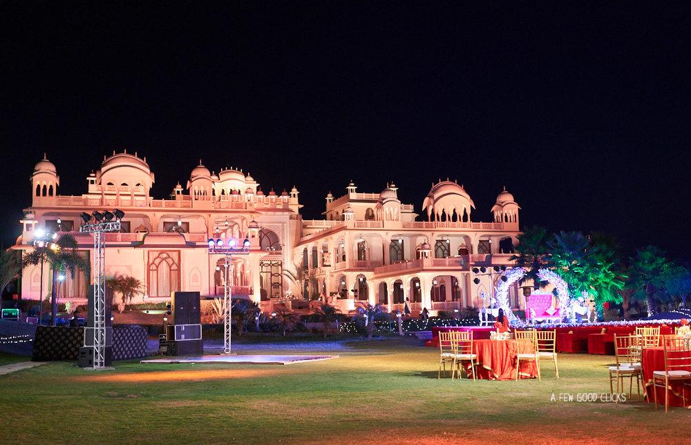 Rajasthali Resort during evening time wedding.