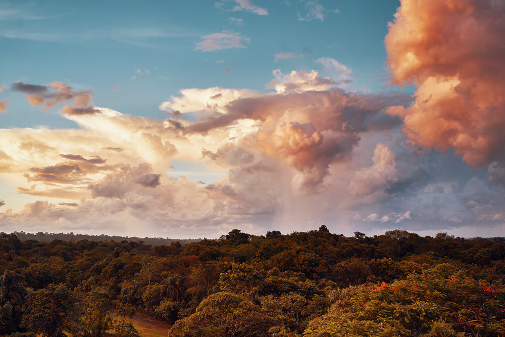 Colourful palette of clouds just before it started raining.