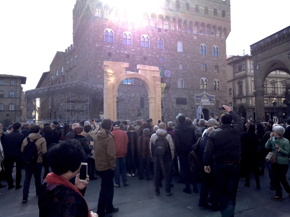 crowds visit the arch in florence