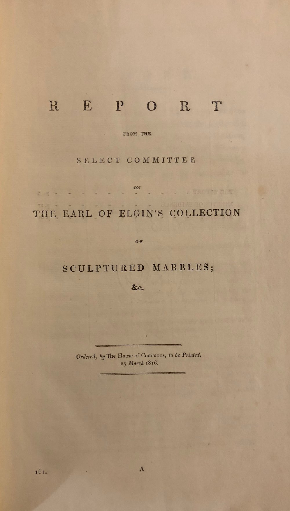 title, report from the select committee on elgin marbles