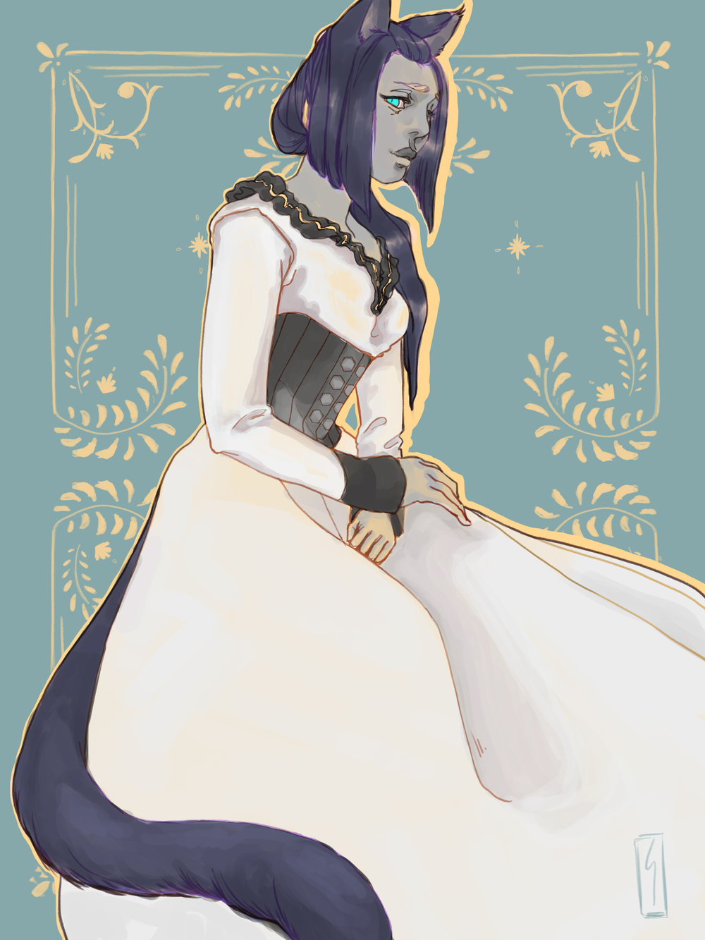FFXIV Fanart - Kohete Naos, thavnairian woolen dress