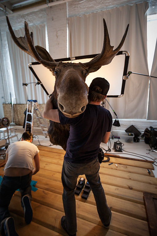 Aaron Hoskins man handles the moose!