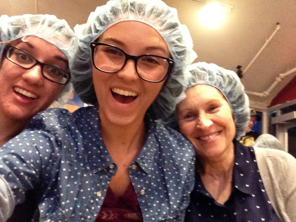 Jessica, my mom, and I show off our hairnets in anticipation of the Celestial Seasonings Tour -- it's worth sacrificing a little pride!