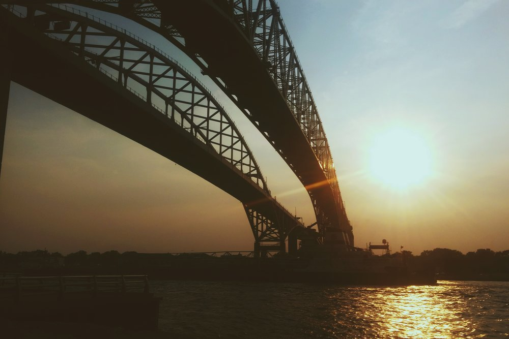 Bluewater Bridge, spanning the gap between Sarnia, Ontario and Port Huron, Michigan